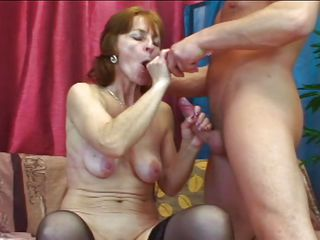 blowjob brown cock couch