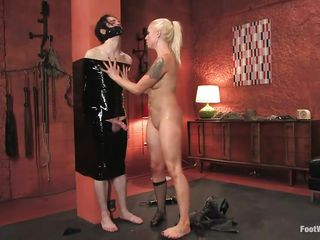 blonde boots dominates dominatrix