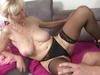 blonde blowjob couch cougar