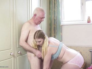 behind blonde blowjob cock