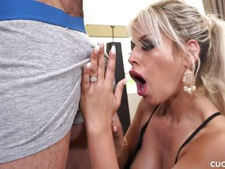 behind big blonde blowjob